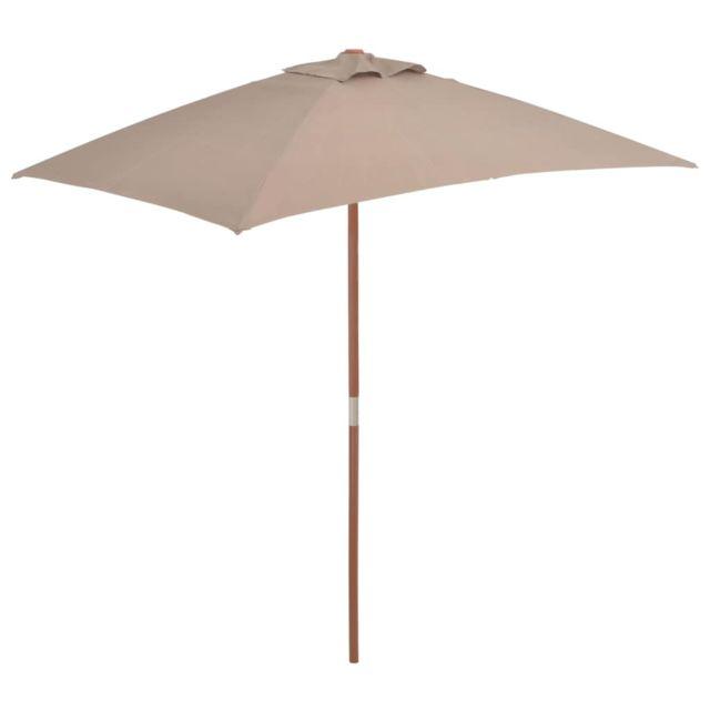 Vidaxl Parasol avec mât en bois 150 x 200 cm Taupe