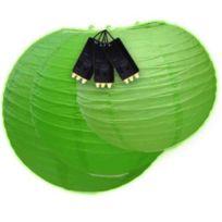 Skylantern - Lampion Boule Japonaises Lumineux Vert x3