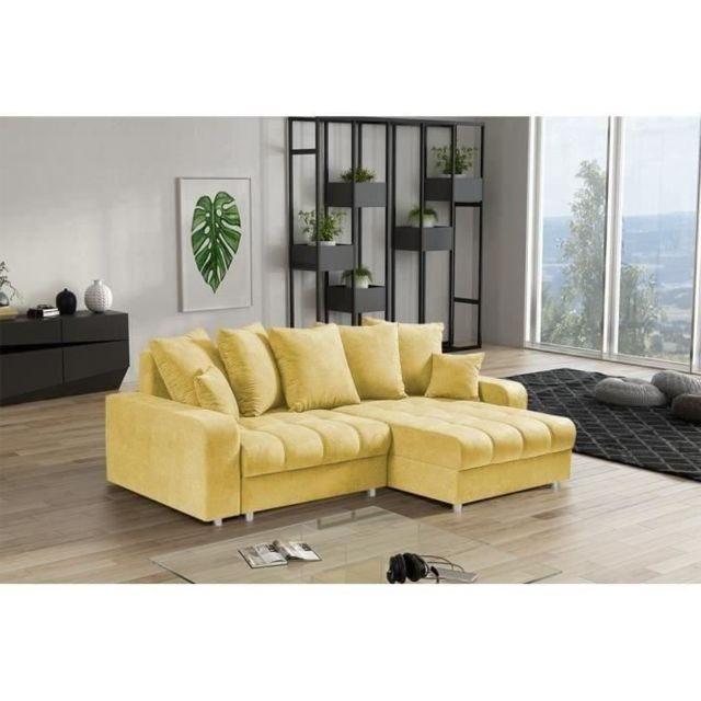 CANAPE - SOFA - DIVAN COSIMA Canapé d'angle convertible réversible 4 places + Coffre - Tissu jaune - L 247 x P 165 x H 9