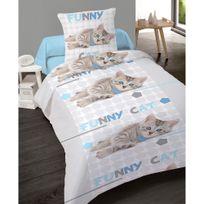 Dourev - Housse de couette 140x200cm et 1 taie Funny Cat 100% coton
