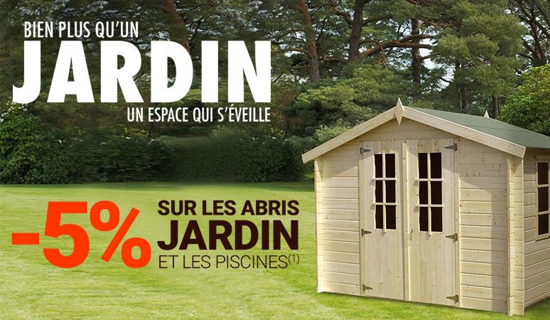 -5% sur les abris de jardins et les piscines