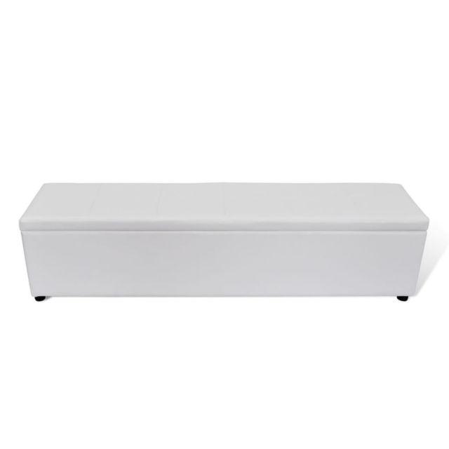 Vidaxl Banc banquette coffre de rangement blanc taille large | Blanc