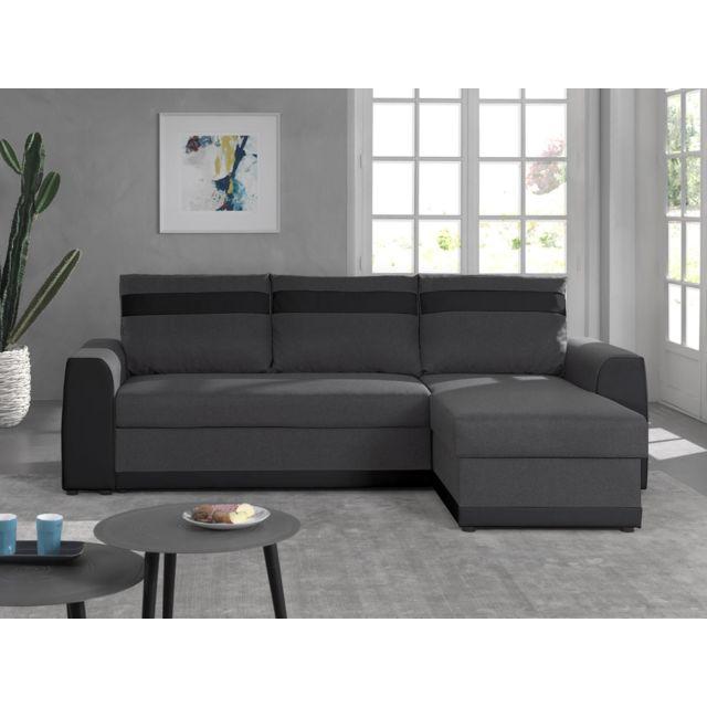 BESTMOBILIER Capri - Canapé d'angle réversible - 4 places - Convertible avec coffre - En simili et tissu Couleur - Noir / Gris