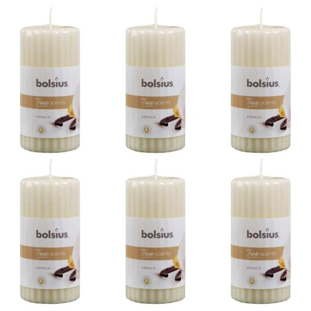 Bolsius Bougies parfumées pilier côtelé 6 pcs 120x58 mm Vanille