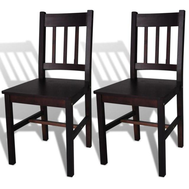 Vidaxl Chaise de salle à manger 2 pcs Bois Marron | Brun