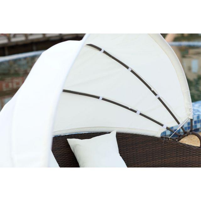 Concept Usine - Circa : salon de jardin modulable 6/8 pers en résine tressée poly rotin marron Chocolat/Ecru