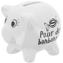 Promobo - Tirelire En Céramique Design Petit Cochon Mots Humour Pour Des Bonbons Blanc