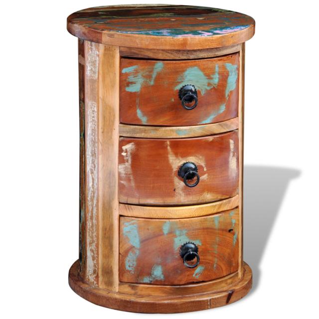 Vidaxl Armoire ronde en bois solide recyclé avec 3 tiroirs