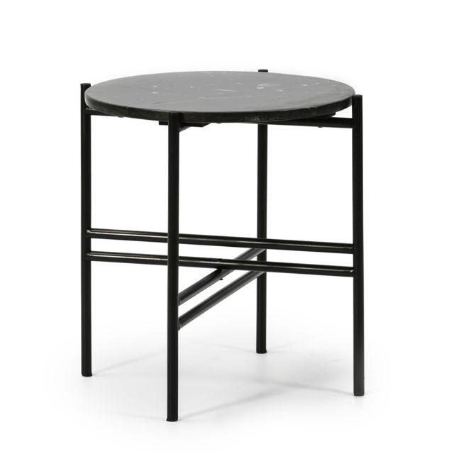 Vs Venta-stock Table Basse Ronde Bombai avec Plateau en Marbre Noir et Pieds métalliques en Noir Mat/DIAMÈTRE: 41cm