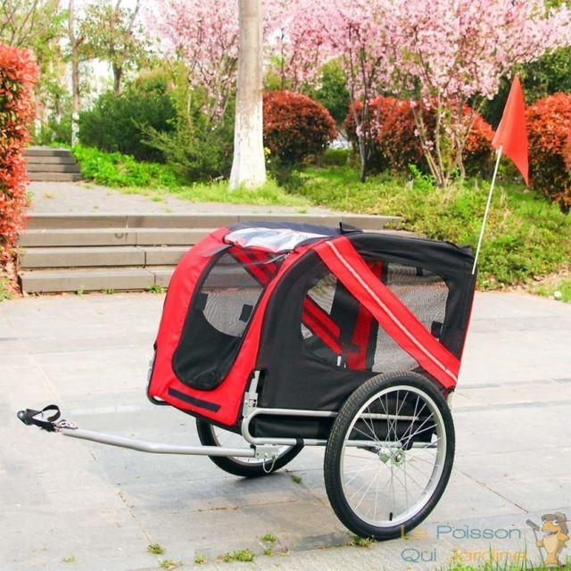 Le Poisson Qui Jardine Remorque De Vélo Pour Chiens - Avec Barre De Traction - 40 Kg Max
