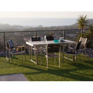 Ermanno G - Salon de jardin 6 places : 1 table 180x90cm en composite ...