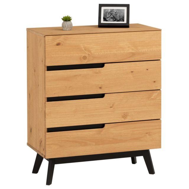 IDIMEX Commode TIBOR style scandinave design vintage nordique avec 4 tiroirs, en pin massif finition bois naturel teinté