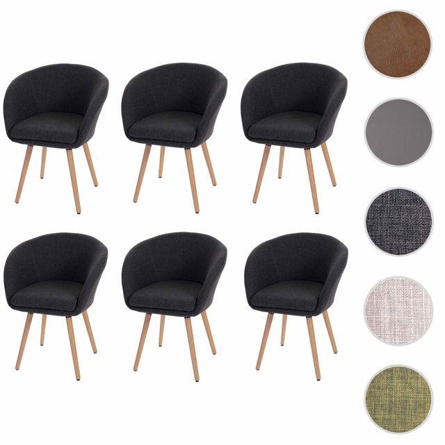 Mendler 6x chaise de salle à manger Malmö T633, fauteuil, design rétro des années 50 ~ tissu, gris foncé