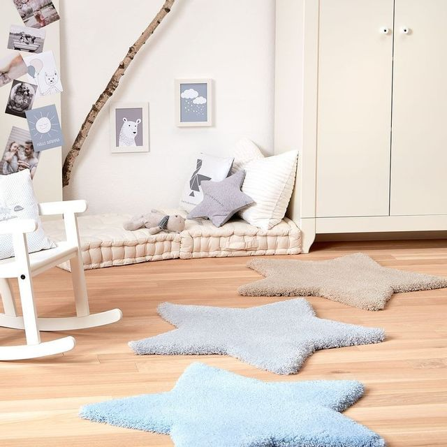 Tapis Etoile Bb Bleu par pour chambre bebe garçon - Couleur - Bleu, Taille  - 80 / 80 cm