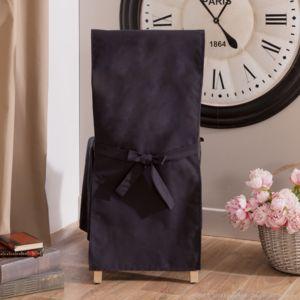 comptoir des toiles housse de chaise unie polycoton teflon antitaches lien dos arthur noir. Black Bedroom Furniture Sets. Home Design Ideas
