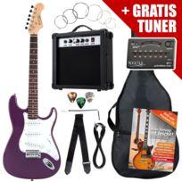Rocktile - St Pack guitare électrique pourpre en Set: ampli, housse, accordeur, câble, sangle
