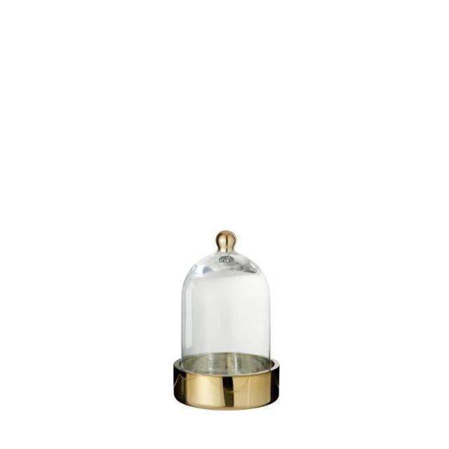 Marque Generique - Cloche verre déco 13x13x20 cm Or et Transparent
