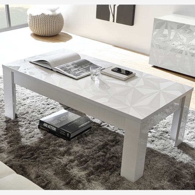 Table Basse Blanche Laquee Design Nino