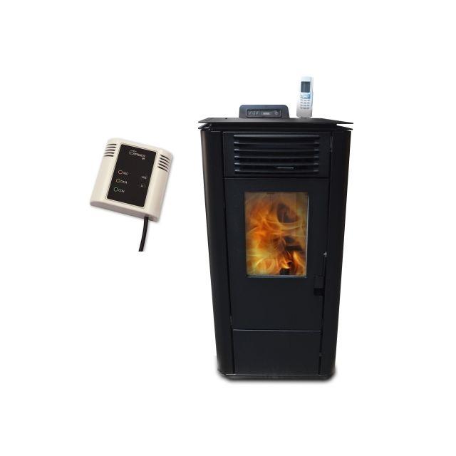 Warm Tech Poêle à pellets 8Kw noir + boitier Wifi