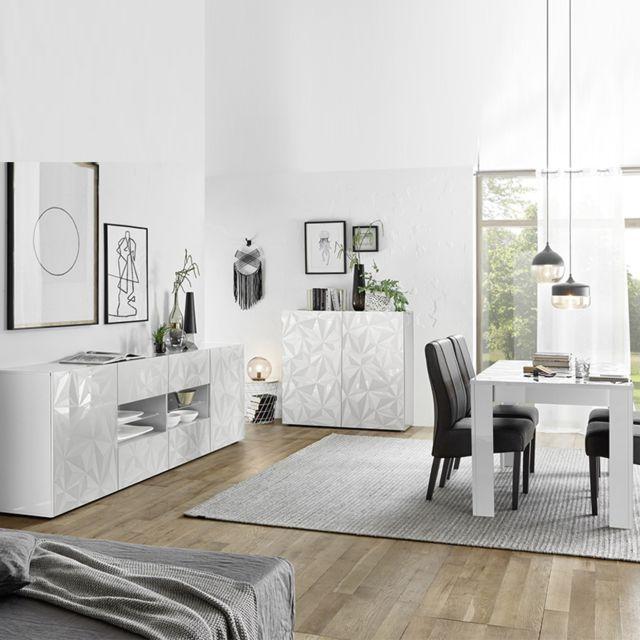 Séjour design blanc laqué enfilade + table 180 Nino