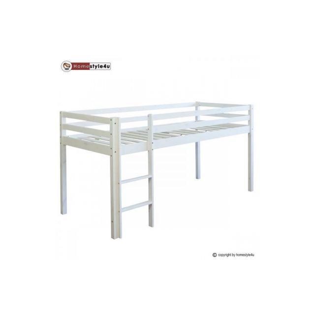 Homestyle4U Lit Simple Blanc 90x200 en hauteur avec echelle