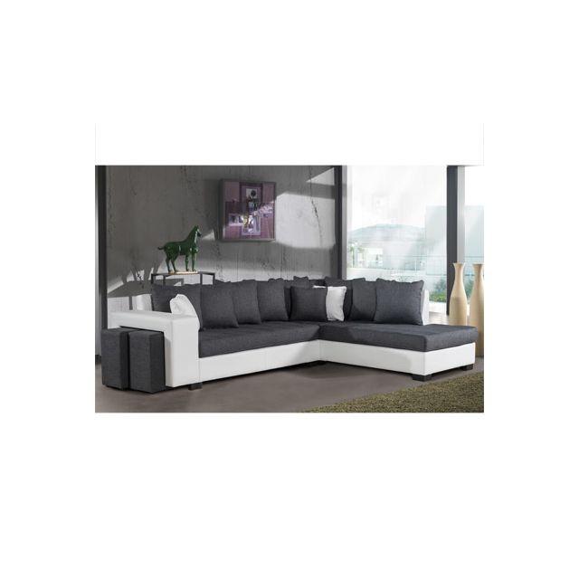 Canapé d'angle à droite gris et Pvc blanc Paloma
