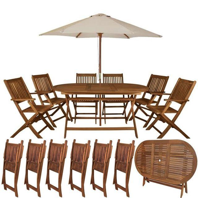 malatec ensemble salon de jardin en bois 6 chaises. Black Bedroom Furniture Sets. Home Design Ideas