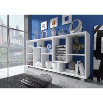 Comfort - Home Innovation- Étagère bibliothèque design Salon-Salle à manger, Blanc mate, Dimensions : 68,5 x 161 x 25 cm de profondeur