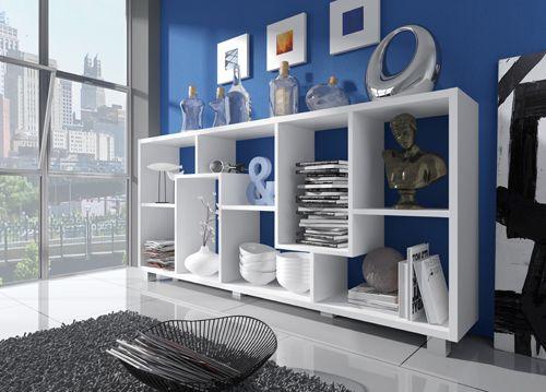 Comfort - Home Innovation- Étagère bibliothèque design Salon-Salle à manger, Blanc mate, Dimensions : 68,5 x 161 x 25 cm de profondeur 68.5cm x 160cm x 25cm