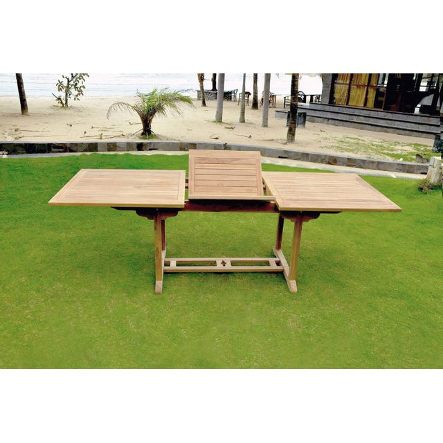 Concept Usine Table Kajang 10 : table de jardin rectangle extensible en teck brut 10 personnes