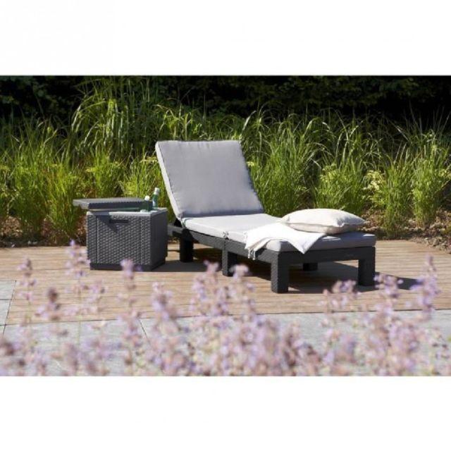 allibert jardin daytona bain de soleil aspect rotin tress gris pas cher achat vente. Black Bedroom Furniture Sets. Home Design Ideas