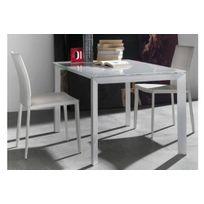 La Seggiola - Table repas extensible Titanium 160 x 90 cm verre extra-blanc