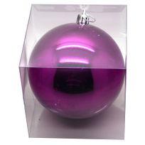 marque generique grosse boule de noel violet brillant de 20 cm - Grosses Boules De Noel Exterieur