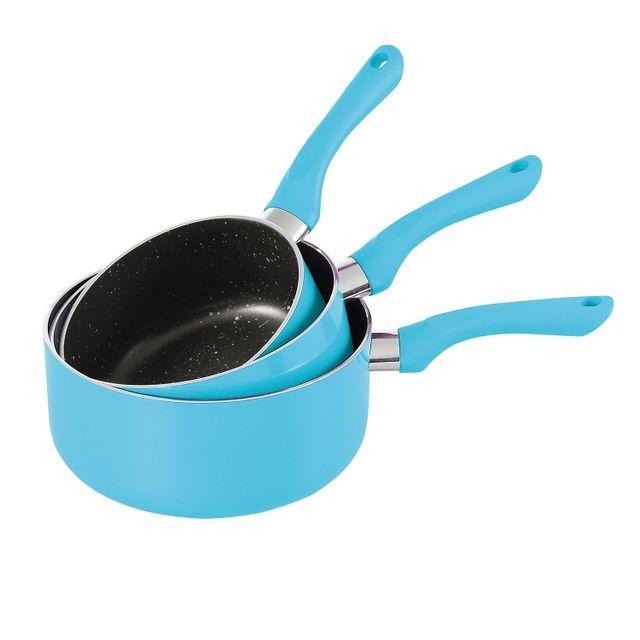 Kitchen Artist Set de 3 casserroles bleu en aluminium 16/18/20cm, anti-adhésive compatible tous feux