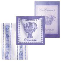 Coucke - Les Traditions - Lot De 2 Torchons + 1 Carré éponge Lavande Violet - 50 X 75 Cm