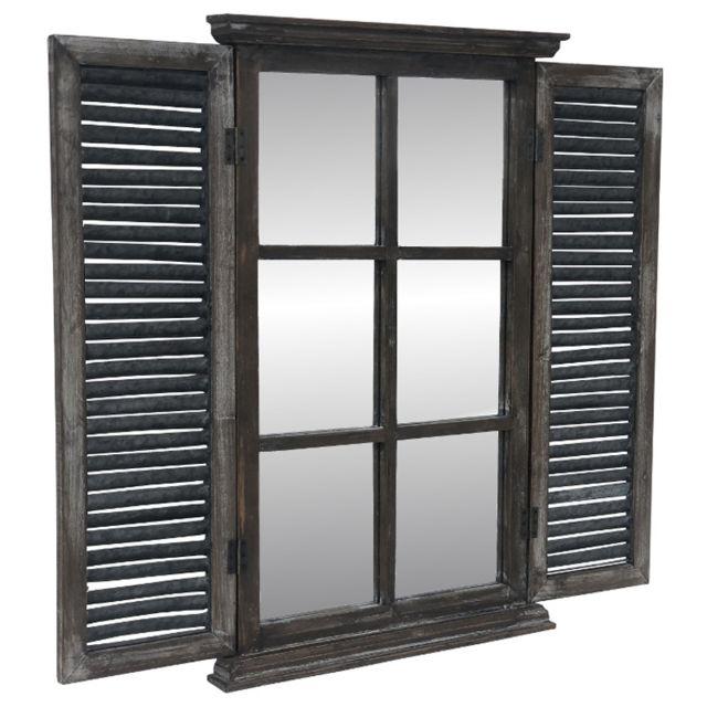 Miroir Fenêtre à Volet Persienne Bois Zinc Mural 90 Cm