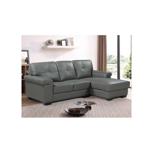 Canapé d'angle en cuir HAZEL - Gris - Angle droit