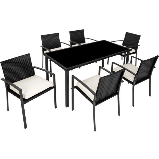 Salon de Jardin 6 Chaises et 1 Table en Résine Tressée Structure Acier Noir