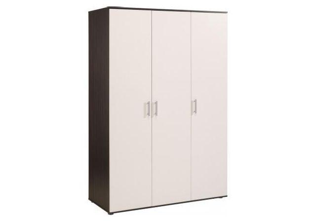 Declikdeco armoire 3 portes blanche et marron marvyn pas cher achat vente rangements - Armoire 3 portes blanche ...