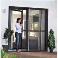 Empasa - Moustiquaire Coulissante Porte et Baie-vitrée - Alu Marron L230 x H240 cm à découper soi-même