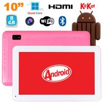 Tablette 10 pouces Android KitKat Bluetooth Quad Core 8Go Rose
