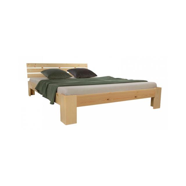 Homestyle4U Lit double en bois futon 160x200 bois naturel