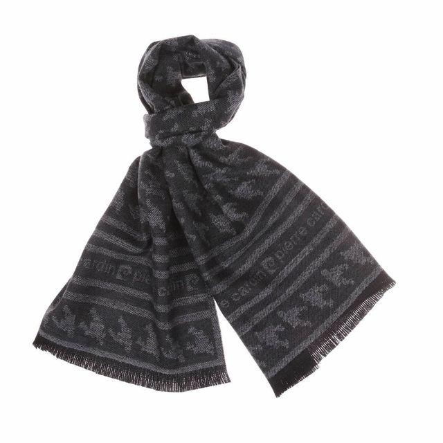 665569035fd5 Pierre cardin - Echarpe en laine anthracite à motifs - pas cher Achat   Vente  Echarpes, foulards - RueDuCommerce