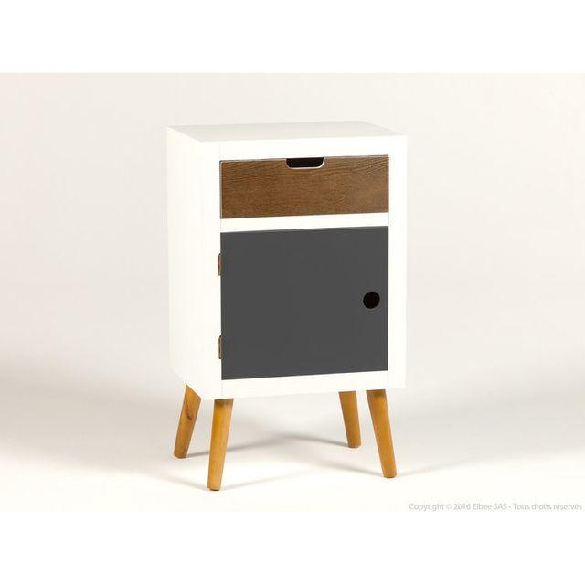 Kaligrafik Table de chevet en bois 1 tiroir 1 porte