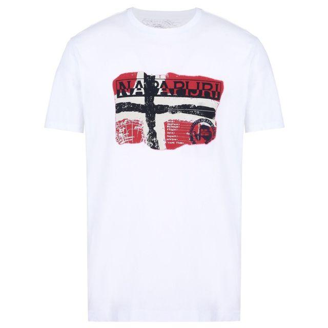 eb6532fcc63ca Napapijri - Tee shirt Saleny blanc - pas cher Achat   Vente Tee ...