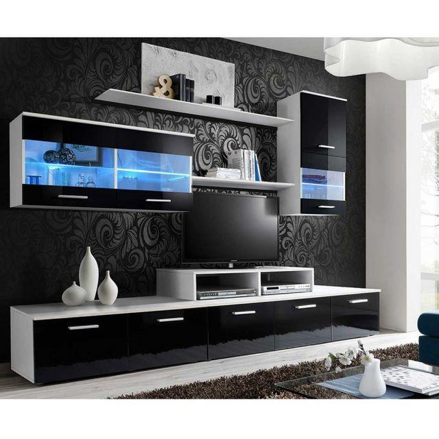 Paris Prix Meuble Tv Mural Design Logo 250cm Noir Blanc Pas