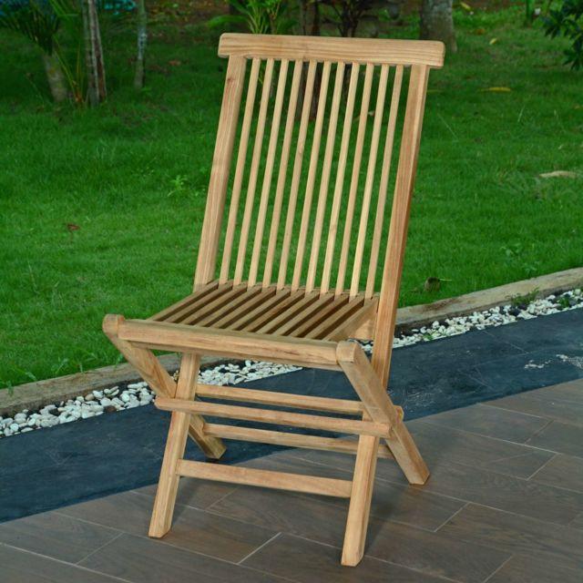 Teck'ATTITUDE Lot de 2 chaises pliantes en teck Ecograde© Java