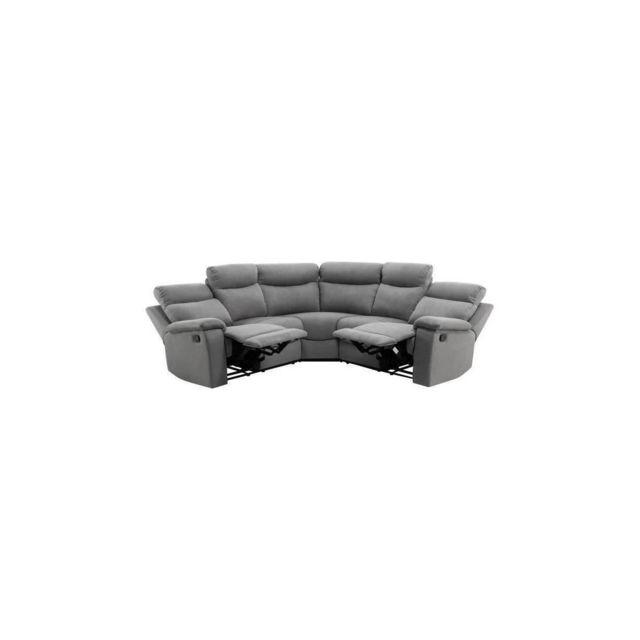 Sans Marque Volupte Canape Relaxation Angle Reversible 5 Places - Tissu Gris - Contemporain - L 238 X P 238 Cm