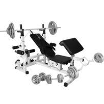 Gorilla Sports - Banc de musculation universel avec support pour haltères et set d'haltères de 105,5kg en fonte avec poignés
