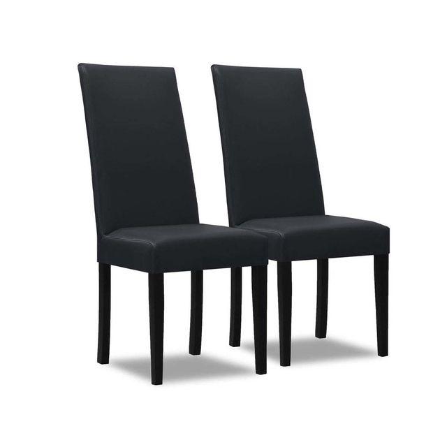 HABITAT ET JARDIN Lot de 2 chaises Peter - Gris foncé